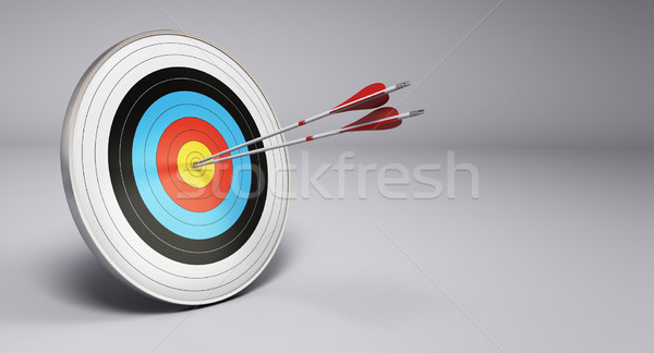Nyilak cél íjászat kettő központ szürke Stock fotó © olivier_le_moal