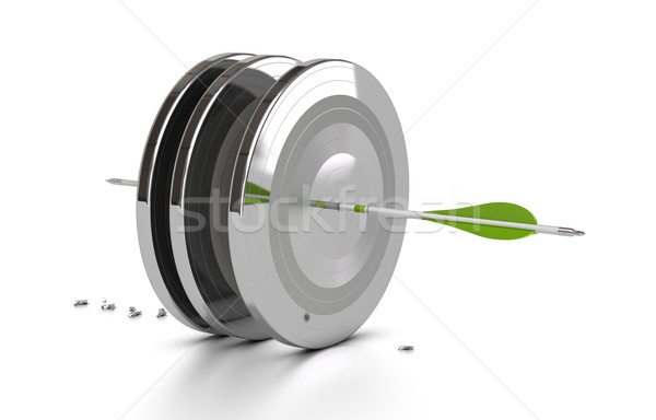 Stock photo: business performance concept, challenge, arrow hitting the mark