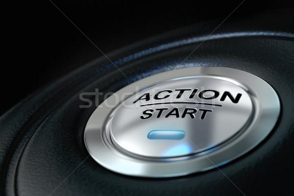 Tevékenység kezdet motiváció gomb fekete kék Stock fotó © olivier_le_moal