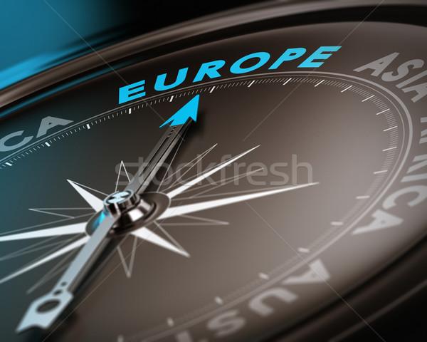 úticél Európa absztrakt iránytű tű mutat Stock fotó © olivier_le_moal
