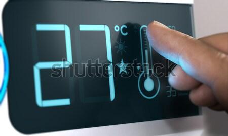 デジタル サーモスタット 温度 セット 指 触れる ストックフォト © olivier_le_moal