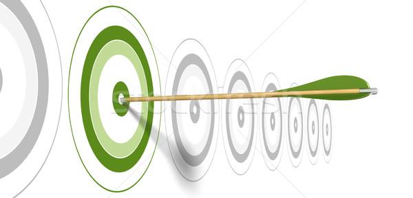 Verde comercialización banner flecha centro objetivo Foto stock © olivier_le_moal