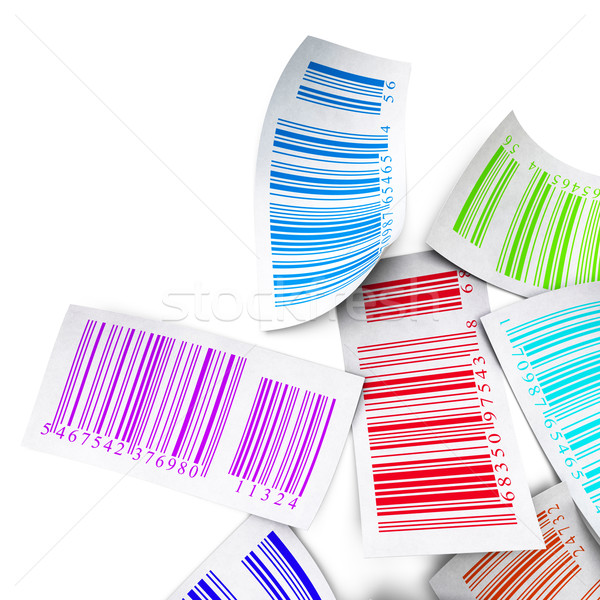 multicolored bar codes top view over white Stock photo © olivier_le_moal