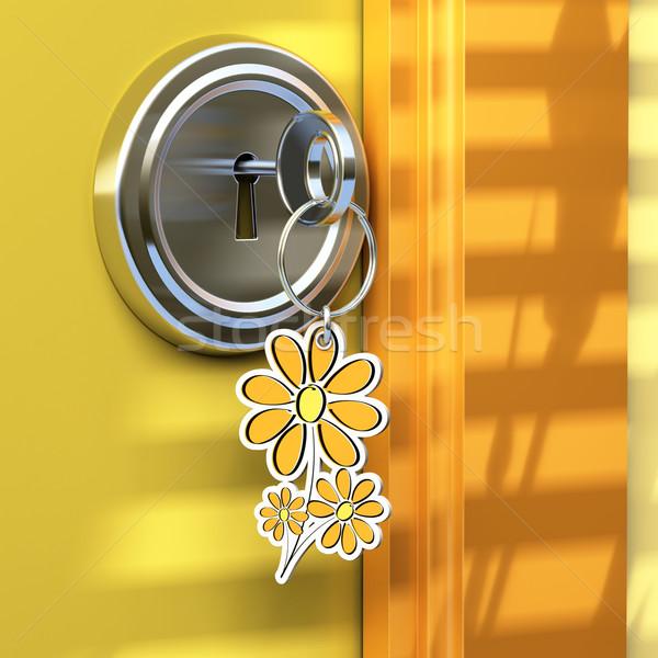 Zen otthon közelkép ajtó virág kulcstartó Stock fotó © olivier_le_moal