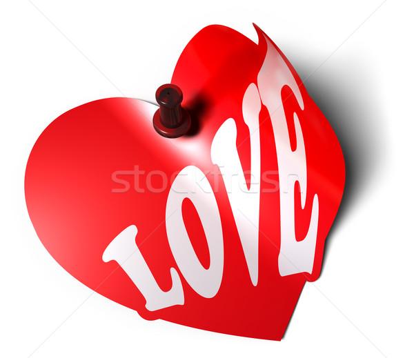 Amour carte vignette blanche coeur fond Photo stock © olivier_le_moal