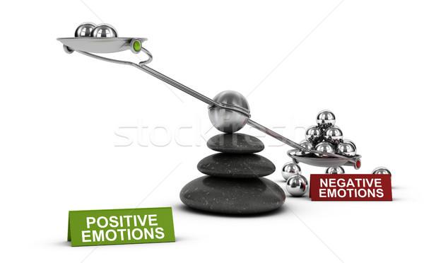 Negativo vs positivo emoções psicologia ilustração 3d Foto stock © olivier_le_moal