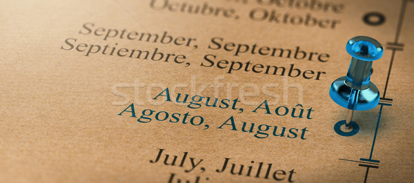 Focus on August, Months of the Year Calendar Stock photo © olivier_le_moal