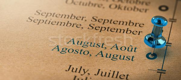 Focus augustus maanden jaar kalender 3d illustration Stockfoto © olivier_le_moal