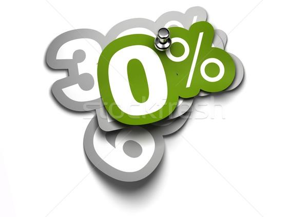 Zéro pour cent vignette fixé blanche mur Photo stock © olivier_le_moal