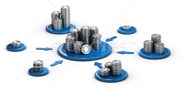Recaudación de fondos financiar monedas blanco azul Foto stock © olivier_le_moal