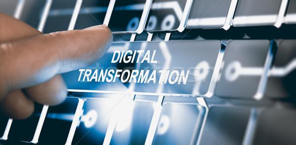Digitale trasformazione dito pulsante testo Foto d'archivio © olivier_le_moal