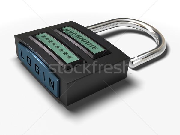 Acessar cadeado nome de usuário senha login Foto stock © olivier_le_moal