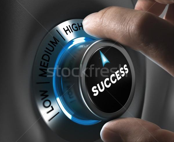 Succes knop wijzend hoog positie Blur Stockfoto © olivier_le_moal