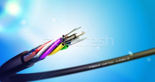 Rost optikai kábel kék folt fények Stock fotó © olivier_le_moal