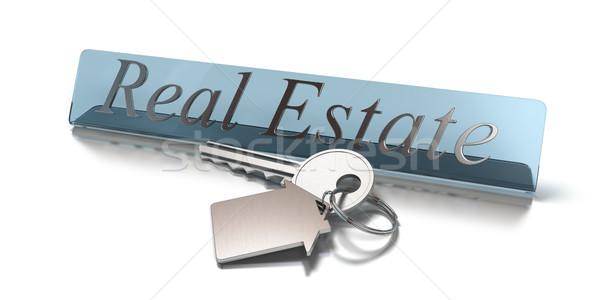 Ingatlan szó kulcs alakú ház fehér Stock fotó © olivier_le_moal