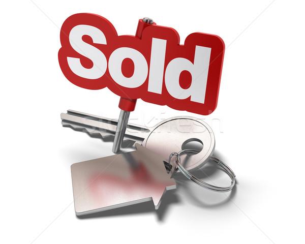 Ingatlan szó eladva kulcs alakú ház Stock fotó © olivier_le_moal