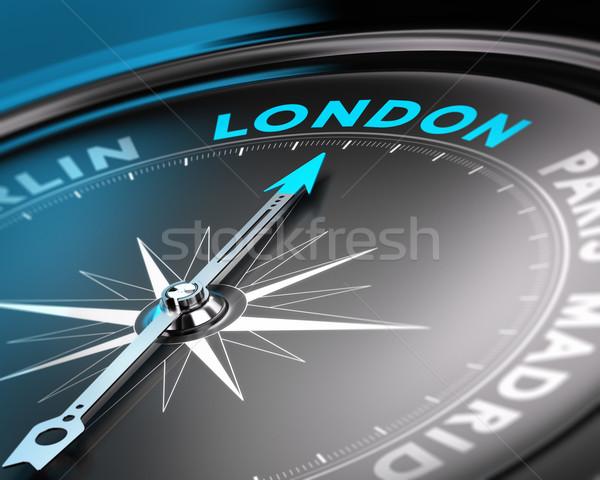 Londyn miasta cel kompas igły wskazując Zdjęcia stock © olivier_le_moal