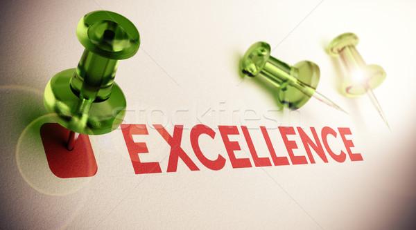 Kiválóság szó zöld fény hatás fókusz Stock fotó © olivier_le_moal