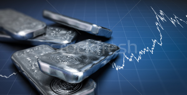 Silver Bullion Bars and Price Chart Stock photo © olivier_le_moal