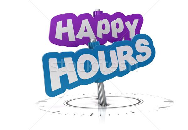 Stock photo: happy hours sign