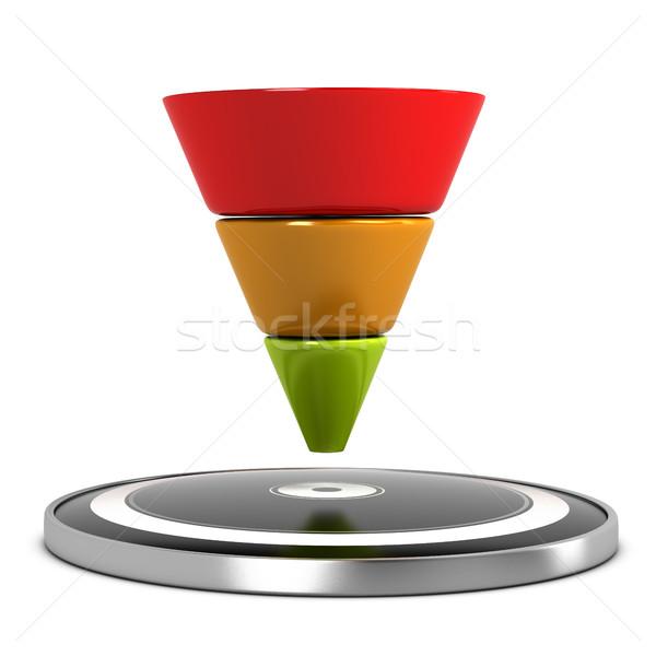 продажи воронка графический целевой белый 3d иллюстрации Сток-фото © olivier_le_moal