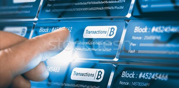 技術 bitcoinの 転送 指 文字 ストックフォト © olivier_le_moal