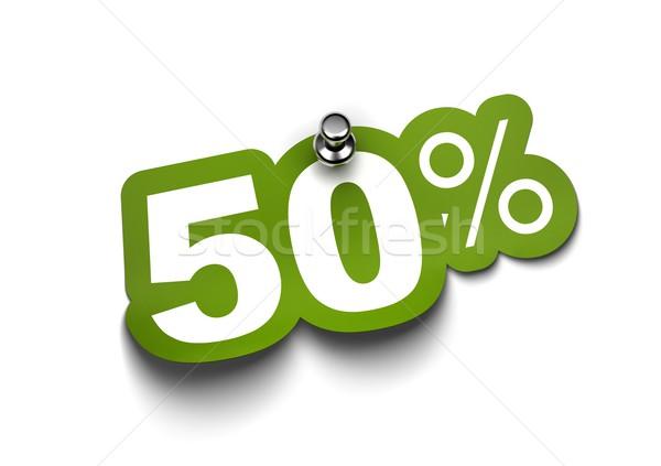 Сток-фото: пятьдесят · процент · наклейку · зеленый · зафиксировано · белый