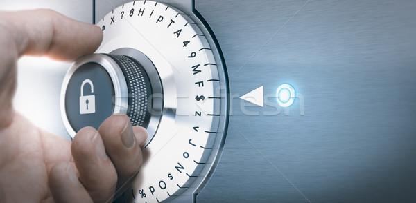 Sûr main lock composer nombre lettres Photo stock © olivier_le_moal