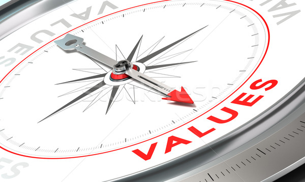 Firmy wartości kompas igły wskazując słowo Zdjęcia stock © olivier_le_moal