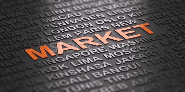Globális üzlet nemzetközi piacok 3d illusztráció szó piac Stock fotó © olivier_le_moal