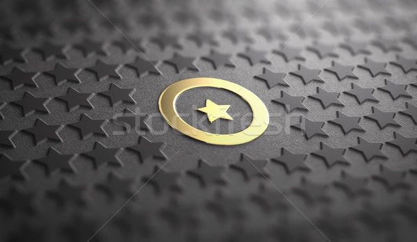 Unique or Difference Concept. Focus on one Golden Star Stock photo © olivier_le_moal