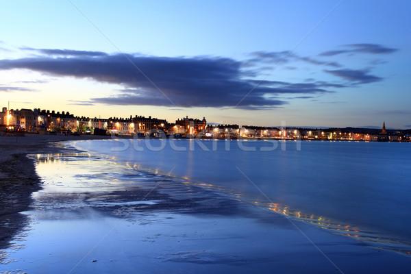 Akşam deniz gün batımı kum kentsel Stok fotoğraf © ollietaylorphotograp