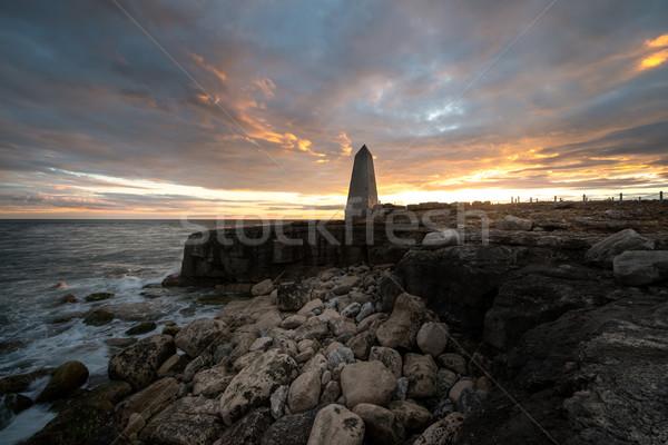 Gün batımı ev plaj doğa manzara deniz Stok fotoğraf © ollietaylorphotograp