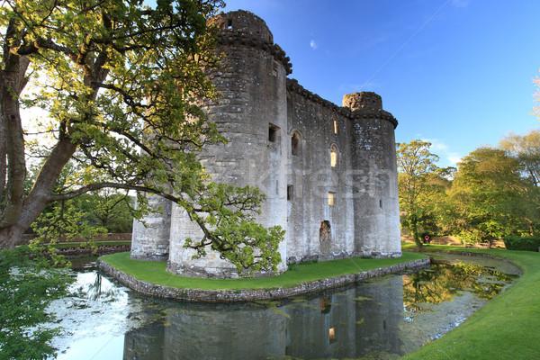 Burg mittelalterlichen Himmel Wand Sommer blau Stock foto © ollietaylorphotograp