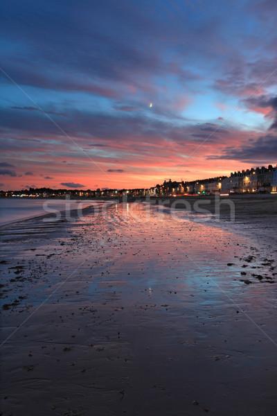 Gün batımı plaj kum gece gündoğumu tatil Stok fotoğraf © ollietaylorphotograp