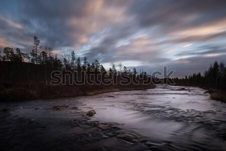 Naplemente észak Finnország sarkköri kör folyó Stock fotó © ollietaylorphotograp