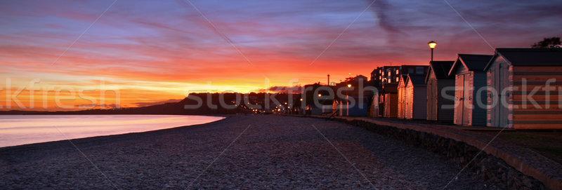 Tengerpart naplemente vibráló égbolt víz tájkép Stock fotó © ollietaylorphotograp