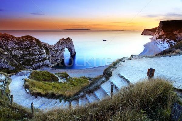 Tanımlama okyanus seyahat kaya İngiltere Stok fotoğraf © ollietaylorphotograp