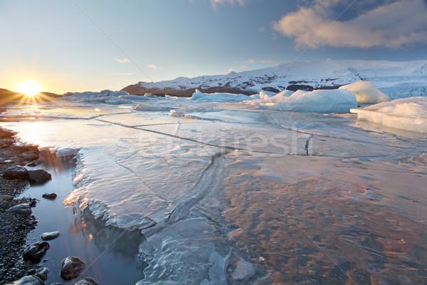 Su doğa manzara kar dağ mavi Stok fotoğraf © ollietaylorphotograp