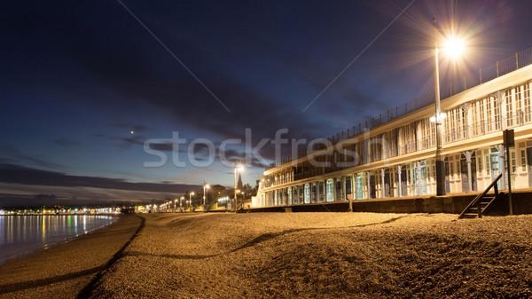 Promenade strand traditioneel cafe zee Stockfoto © ollietaylorphotograp
