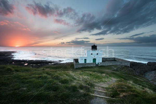 Bamburgh Lighthouse Sunset Stock photo © ollietaylorphotograp