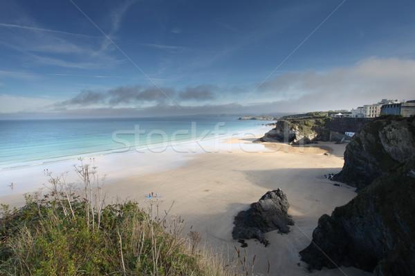 Cornwall plaj güney batı ağaç gün batımı Stok fotoğraf © ollietaylorphotograp