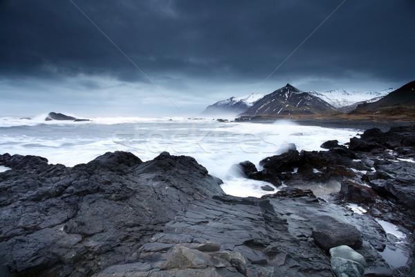 Fırtınalı deniz güney İzlanda tan arktik Stok fotoğraf © ollietaylorphotograp