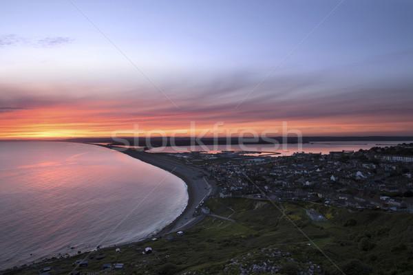 Plaj gün batımı gökyüzü doğa ışık seyahat Stok fotoğraf © ollietaylorphotograp