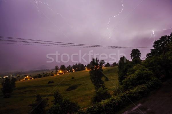 Verão tempestade noite paisagem árvores natureza Foto stock © ondrej83