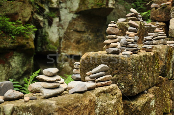 Stock photo: A small pyramid of pebbles