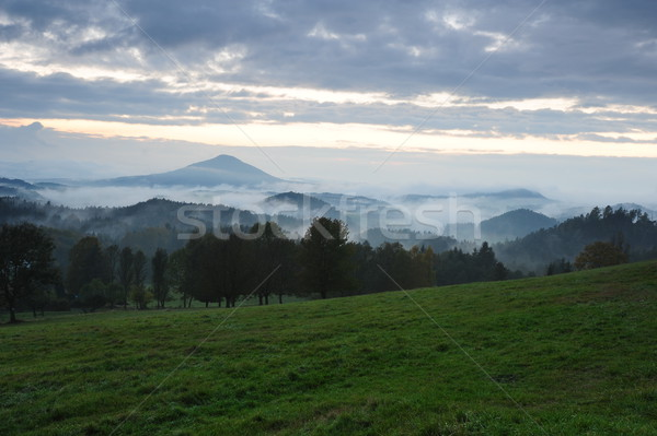 Erken akşam manzara sis Çek İsviçre Stok fotoğraf © ondrej83