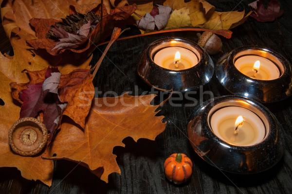 Autunno decorazione asciugare foglie brucia candele Foto d'archivio © ondrej83