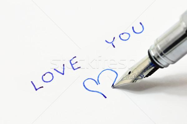 Nyilatkozat szeretet írott tinta toll fehér Stock fotó © ondrej83