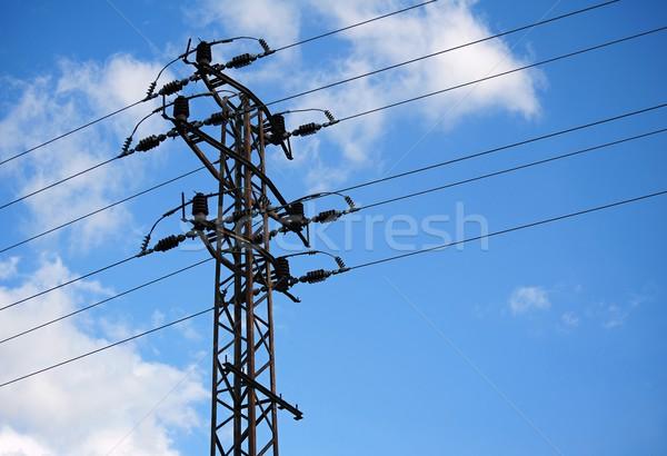 Távvezeték gyönyörű kék ég építkezés kábel ipari Stock fotó © ondrej83